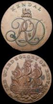 London Coins : A168 : Lot 906 : Halfpennies 18th Century (2) Westmoreland (now Cumbria) 1794 Kendal, Obverse: a cypher R&D crest...