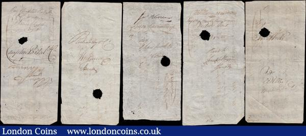 Margate Isle of Thanet 14, 21 days and 1 month sight notes of different values dated 1799 punch-hole cancelled (5) all uniface in VF or about with various inked annotations on reverse and signed Francis Cobb & Son. All with fairly clear embossed revenue stamps for 1 shilling and 6 pence. Vertical cursive name of bank to far left, Coat of Arms to centre left. : English Banknotes : Auction 168 : Lot 93