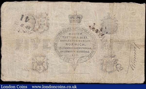 Norwich Crown Bank & Norfolk & Suffolk Bank, Norwich 5 Pounds dated 12th September 1868 No. A139 For Harvey & Hudson's, manuscript signatures Hudson's and Entered by Samuel Hills (Outing 1606k; Grant 2145c), Fine-VF multiple pinholes in body, a possible spindle hole to upper left and the usual inked signatures/annotations on both obverse and reverse. Black with imprint of Perkins, Bacon & Petch, London and features 2 heraldic shields at upper centre on obverse. The reverse with 4 heraldic shields - one in each quadrant, and crowned emblem at centre with banks name and various town names Watton, Thetford, Diss, Harleston, Bungay and others. Also 2 hand-stamps on reverse, one of which reads Ransom & Co. : English Banknotes : Auction 169 : Lot 109