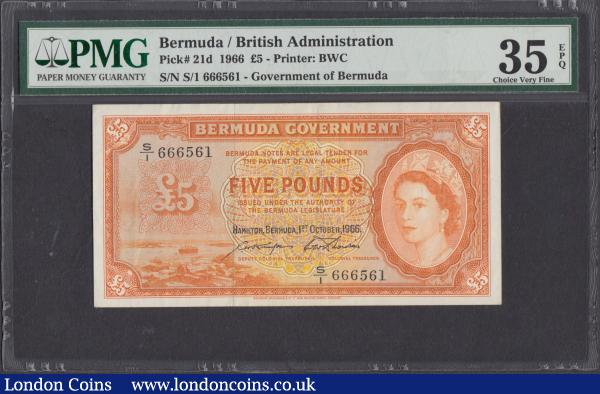 Bermuda Government 5 Pounds Pick 21d last date for this issue 1st October 1966 Hamilton, Bermuda serial number S/1 666561, in a PMG holder graded Choice VF 35 EPQ (Exceptional Paper Quality) an alluring design of this second highest denomination for the series and Exceptionally Scarce note. Orange on multicolour featuring a portrait of a young Queen Elizabeth II at right and an illustration of ships in Hamilton harbour at left. The reverse with an elaborate orange and green guilloche panel featuring the Royal Coat of Arms at centre. Printed by Bradbury Wilkinson & Co this is an example of the last series notes from the Pound system before Bermuda converted into dollars. : World Banknotes : Auction 169 : Lot 123