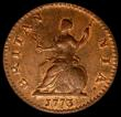 London Coins : A169 : Lot 1356 : Farthing 1773 Obverse 2 Peck 913 in an LCGS holder and graded LCGS 82, the finest known of 12 exampl...