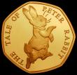 London Coins : A169 : Lot 1429 : Fifty Pence 2017 Peter Rabbit running Gold Proof S.H43 FDC uncased