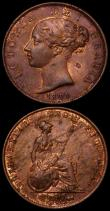 London Coins : A169 : Lot 1673 : Penny 1841 REG No Colon Peck 1484 EF with traces of lustre and some contact marks, Halfpenny 1841 Pe...