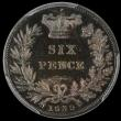 London Coins : A169 : Lot 1808 : Sixpence 1839 Plain Edge Proof, Reverse upright, ESC 1685, Bull 3171, in a PCGS holder and graded PR...
