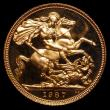 London Coins : A169 : Lot 1953 : Sovereign 1987 S.SC2 Proof nFDC with light handling marks, retaining practically full mint brillianc...
