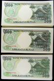 London Coins : A169 : Lot 198 : Indonesia Bank 500 Rupiahs 1992 -1999 (300) in 3 consecutively numbered bundles of 100 notes each. T...