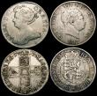 London Coins : A169 : Lot 2018 : Crowns (2) 1670 VICESIMO SECVNDO, 1696 OCTAVO, Halfcrowns (2) 1713 Plain in angles with NNO for ANNO...