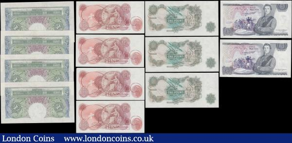Bank of England 10 Shillings to 5 Pounds O'Brien, Hollom & Page 1950-80's (13) all in GEF to about UNC comprising 1 Pounds O'Brien B273 Green Britannia medallion issued 1955 (4) a consecutively numbered set Z35K 948096 to Z35K 948099. 10 Shillings QE2 portrait & seated Britannia B295 Red-brown issued 1963 (4) a consecutively numbered set 65A 175996 to 65A 175999. Together with Page issues (5) including 1 Pounds QE2 portrait & seated Britannia (3) a consecutive trio serial numbers AN19 217588 to AN19 217590. Along with a near consecutively numbered pair 5 Pounds QE2 pictorial & The Duke of Wellington B336 L (Lithography) Reverse (2) serial numbers BY07 991881 & BY07 991883. : English Banknotes : Auction 169 : Lot 21