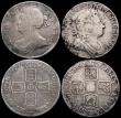 London Coins : A169 : Lot 2101 : Shillings (4) 1663 First Bust variety NVG/VG, 1686 VG, 1702 VG/Near Fine, 1720 Plain in angles VG/Fi...