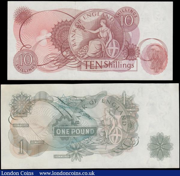 Bank of England Hollom QE2 portrait & seated Britannia 1963 issues (2) comprising a 10 Shillings B296 Red-brown Replacement issue serial number M45 232985, GVF-EF. Together with 1 Pound B288 Green issue and a LAST series serial number B06Y 495269, EF-GEF. : English Banknotes : Auction 169 : Lot 50