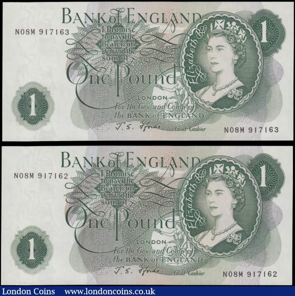 One Pounds Fforde QE2 portrait & seated Britannia B308 Green G (Goebel) Reverse Replacement issue 1967 (2) a consecutively numbered pair serial numbers N08M 917162 & N08M 917163, both about UNC - UNC and Seldom seen as a high grade consecutive pair  : English Banknotes : Auction 169 : Lot 57