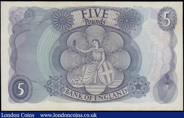 Five Pounds Fforde 1967 portrait issue B313 Replacement series M24 705769 GEF with some minor dirt however a rather scarce piece : English Banknotes : Auction 169 : Lot 59