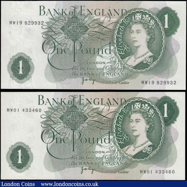 One Pound Page B323, scarce first and last run REPLACEMENT notes MW01 433460 & MW19 829932, issued 1970, (Pick374g), the first Uncirculated, the last about Uncirculated/good EF : English Banknotes : Auction 169 : Lot 66