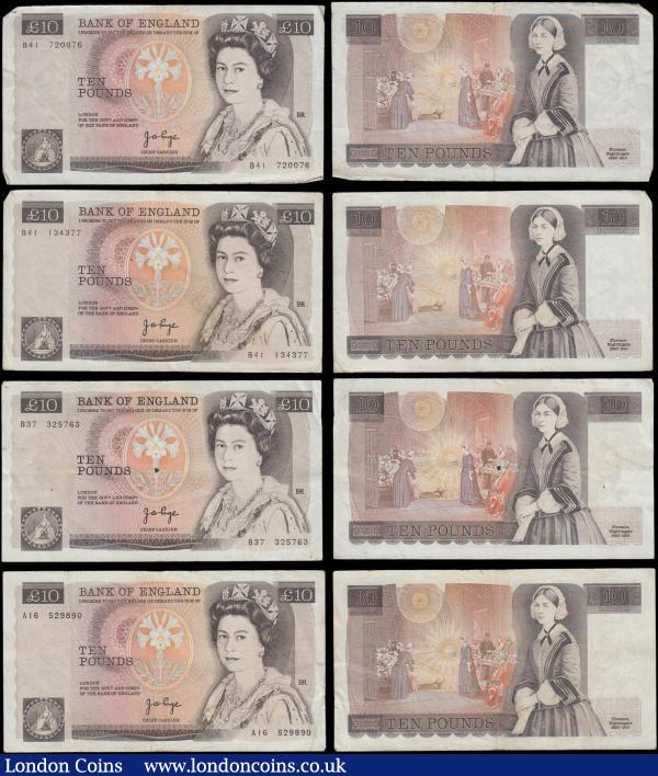 Ten Pounds Page QE2 pictorial & Florence Nightingale B330 issues 1975 (7) all circulated in various grades VG/Fine to VF including a FIRST series prefix - A16, B37, B41, B41, B48, B48 and B66 : English Banknotes : Auction 169 : Lot 67