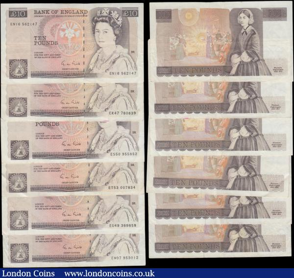 Ten Pounds Gill QE2 pictorial & Florence Nightingale B354 L (Lithography) Reverse issues 1988 (19) all circulated and a mid-grade group Fine to VF including prefixes DS20, DS24, DS61, DU14, DU54, DY63, DZ89, EN16, ER47, ES50, ET53, EU49, EW07, EW48, HN39, HR27, HU64, HZ85 and JN37 : English Banknotes : Auction 169 : Lot 75