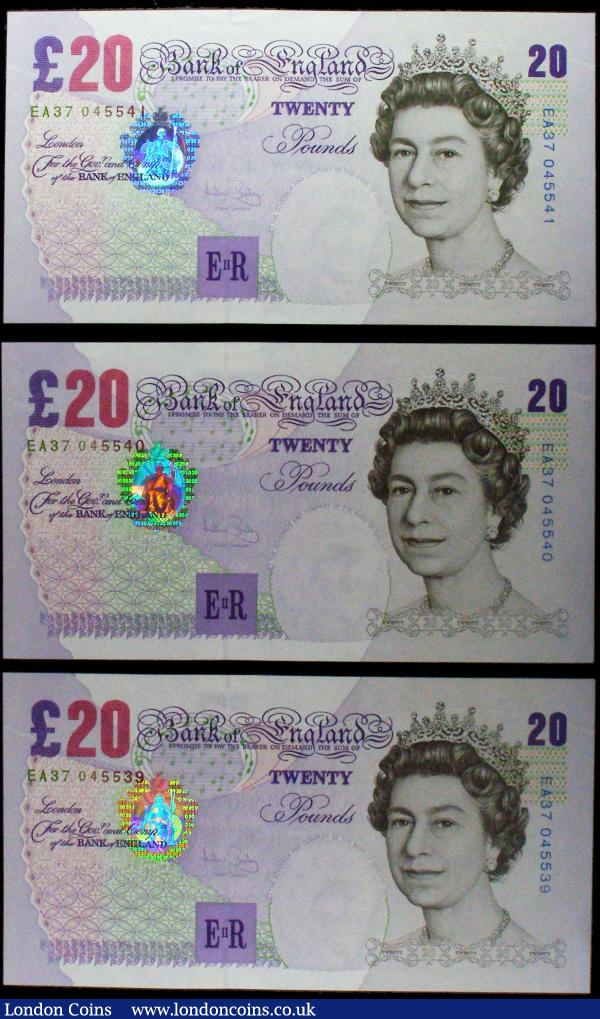 Twenty Pounds Bailey QE2 & Sir Edward Elgar B402 Purple/Black issues 2004 (3) a consecutively numbered trio serial numbers EA37 045539 - EA37 045541, about UNC or better : English Banknotes : Auction 170 : Lot 101