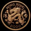 London Coins : A170 : Lot 1044 : Hong Kong $1000 1976 Year of the Dragon Gold Proof KM#40 practically FDC retaining full original min...