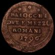 London Coins : A170 : Lot 1080 : Italian States - Papal States 2 1/2 Baiocchi 1796 KM#1240 About Fine with some porosity and some edg...