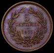 London Coins : A170 : Lot 1108 : Luxembourg 5 Centimes 1855 KM#22.2 UNC with blue and magenta toning, seldom seen in this high grade