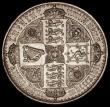 London Coins : A170 : Lot 1399 : Crown 1847 Gothic UNDECIMO ESC 288, Bull 2571, EF ex-Jewellery with holes in the edge at 3 and 9 o&#...