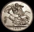 London Coins : A170 : Lot 1406 : Crown 1889 ESC 299, Bull 2589, Davies 483 dies 1A, EF and lustrous with some hairlines, the obverse ...