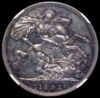 London Coins : A170 : Lot 1413 : Crown 1893 LVI Proof ESC 304, Bull 2594, Davies 505 dies 2A T of VICTORIA points between two rim tee...