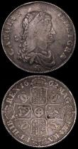 London Coins : A170 : Lot 1441 : Crowns (2) 1662 Rose below bust, No date on edge, ESC 15, Bull 339 approaching Fine, the obverse wea...