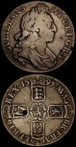 London Coins : A170 : Lot 1442 : Crowns (2) 1695 SEPTIMO with Cinquefoil stops at the end of the edge legend ESC 86, Bull 990 VG the ...