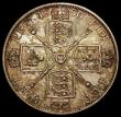 London Coins : A170 : Lot 1457 : Double Florin 1890 ESC 399, Bull 2703 NEF with colourful toning, the tone slightly uneven on the rev...