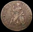 London Coins : A170 : Lot 1462 : Farthing 1665 Pattern in copper, Obverse: Bust with long hair, date below, Reverse: Loose drapery be...