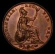 London Coins : A170 : Lot 1477 : Farthing 1840 as Peck 1559, Aboutfarthings Obverse 1, both A's barred in GRATIA, Reverse A Thre...