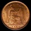 London Coins : A170 : Lot 1484 : Farthing 1860 Toothed Border, 5 Berries, Freeman 501 dies 3+B, Choice UNC with 75%/50% lustre with t...