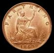 London Coins : A170 : Lot 1491 : Farthing 1863 as Freeman 509 dies 3+B Variety with dot in the sea below the lighthouse, LCGS Variety...