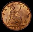 London Coins : A170 : Lot 1492 : Farthing 1863 as Freeman 509 dies 3+B Variety with dot in the sea below the lighthouse, UNC and high...