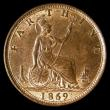 London Coins : A170 : Lot 1497 : Farthing 1869 Freeman 522 dies 3+B Choice UNC with around 50% original mint lustre, in an LCGS holde...