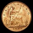London Coins : A170 : Lot 1504 : Farthing 1883 Perfect F in F:D: Choice UNC with around 90%/75% lustre, LCGS Variety 02, in an LCGS h...
