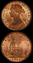 London Coins : A170 : Lot 1517 : Farthings (2) 1865 Large Fat 8 in date, UNC and lustrous, very rare thus, 1865 5 over 2 Lustrous UNC...