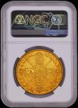 London Coins : A170 : Lot 1519 : Five Guineas 1678 8 over 7 First Bust, S.3328A NGC XF 40 desirable thus