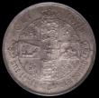 London Coins : A170 : Lot 1540 : Florin 1858 close ccc in date ESC 816B, Bull 2839, Davies 731 UNC the obverse with olive and gold to...