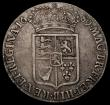 London Coins : A170 : Lot 1686 : Halfcrown 1689 First Shield, Caul and Interior frosted, with pearls ESC 503, Bull 826 Bold Fine