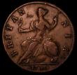 London Coins : A170 : Lot 1859 : Halfpenny 1730 GEOGIVS error Peck 837 Good Fine, scarce