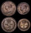 London Coins : A170 : Lot 1891 : Maundy Set 1850 ESC 2460, Bull 3493, the Twopence with 8 over wider 8, GEF to UNC with matching tone