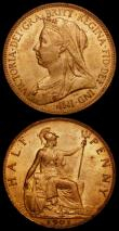 London Coins : A170 : Lot 1945 : Penny 1897 Freeman 145 dies 1+B, UNC with good subdued lustre, Halfpenny 1901 Freeman 378 dies 1+B, ...