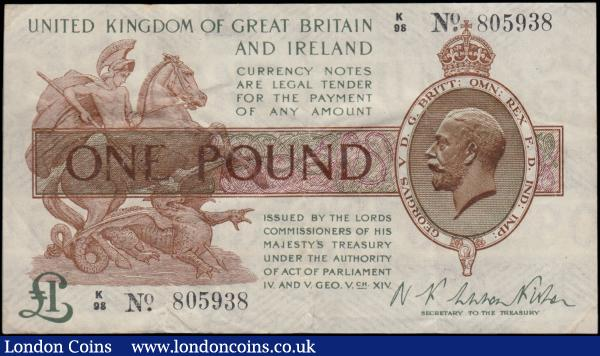 One Pound Fisher First issue T24 Black serial number Dot in No. issue 30th September 1919 very FIRST series prefix serial number K/98 805938, presentable VF or slightly better and scarcer note now just a little over a century old : English Banknotes : Auction 170 : Lot 28
