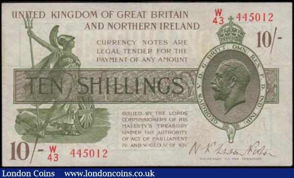 Ten Shillings Fisher Third issue T33 No. Omitted Northern Ireland in title issue 1927 LAST series prefix traced to W /80 serial number W/43 445012, VF and pleasing : English Banknotes : Auction 170 : Lot 30