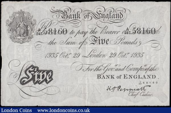 Five Pounds Peppiatt White note World War II German Operation BERNHARD forgery B241OB dated 29th October 1935 serial number A/247 58160, VF or better with the usual Pinholes in body : English Banknotes : Auction 170 : Lot 46
