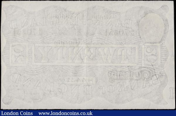 Twenty Pounds Peppiatt White note World War II German Operation BERNHARD forgery B243 dated 20th August 1934 serial number 48/M 70351, GVF with multiple pinholes in body : English Banknotes : Auction 170 : Lot 50