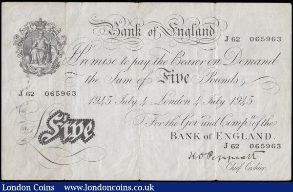 Five Pounds Peppiatt White note B255 Thick paper Metal thread LONDON branch issue dated on the US Independence day 4th July 1945 serial number J 62 065963, good Fine - about VF small edge nicks at folds and an inked name in large and bold letters on reverse : English Banknotes : Auction 170 : Lot 60