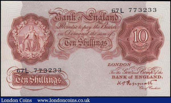 Ten Shillings Peppiatt Third Period B256 Post-war Britannia medallion Unthreaded continued issue 1948 serial number 67L 773233, a high grade about UNC and pressed : English Banknotes : Auction 170 : Lot 61