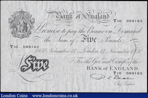 Five Pounds Beale White note B270  Thin paper Metal thread LONDON branch issue dated 14th November 1950 serial number T10 089165, VF pressed and washed with watermark thinned at right resulting in a minor inner split but a presentable note : English Banknotes : Auction 170 : Lot 71